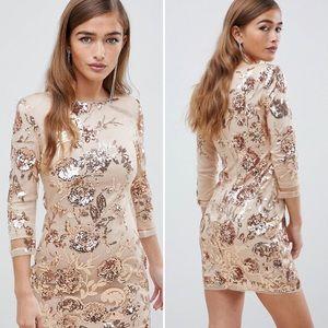 ASOS TFNC London Champagne Sequin Mini Dress